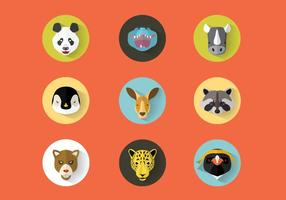 Wildtiere Portraits Vector Set