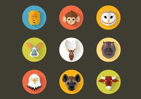 Flat Animal Icon Pack Vector