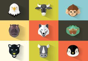 Vierkante Flat Animal Icon Pack Vector