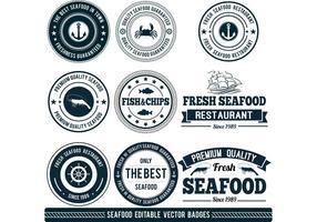 Customizable Seafood Vector Badges
