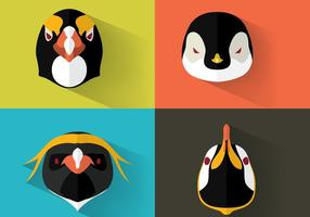 Kaiser Pinguin Portraits Vektor Set