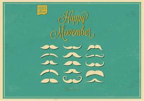 No Shave Movember Mustaches Vector Set