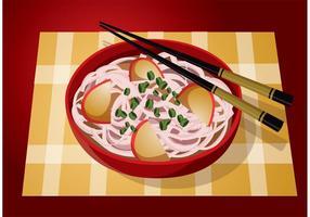Rote Schüssel-Nudel-Vektor-Nahrung