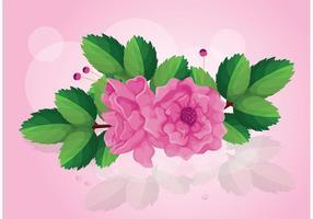 Vecteur de rose avec des feuilles