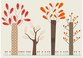 Set de Flat Autumn Vector Trees