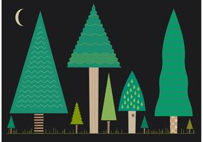 Set of Flat Tree Vectors at Night