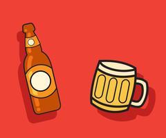 Beer Vector Bottle and Mug Vector