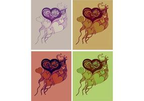 Four Hand Drawn Heart Vectors