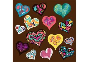 Ensemble de vecteur Doodle Heart gratuit