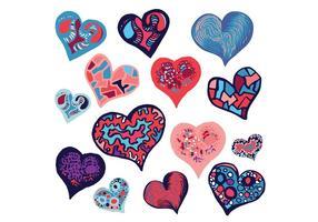 Gratis Doodle Heart Vector Set