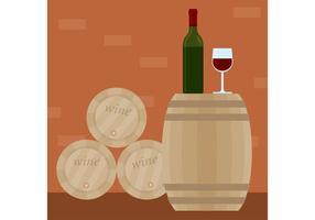 Vector de vino con barril