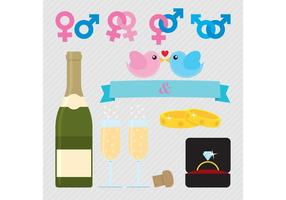 Símbolos vectoriales de boda