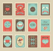 Love And Wedding Post Stamp Vectors