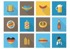 Iconos libres del vector de Oktoberfest del plano