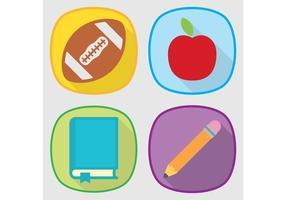 Conjunto de iconos de vector de la escuela