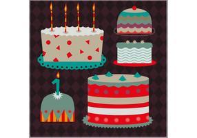 Sats av dekorativa tårta vektorer