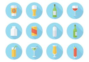 Gratis Flat Drink Vector Icon Set