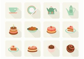 Flat Cake And Tea Vector Icons