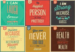 Vintage Motivational Citat Vektor Bakgrund Pack