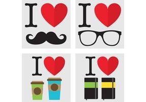 Ich liebe Hipster-Vektoren