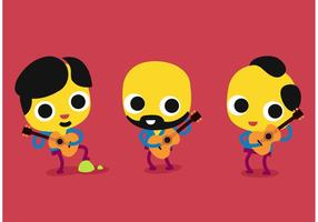 Cartoon Gitaar Spelers Vector Set