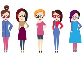 Pack Hipster Girl Vector