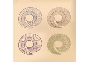Hojas del vector espiral
