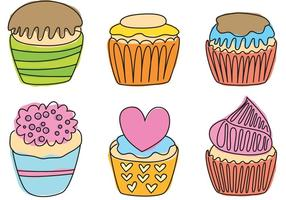 Hand getrokken cupcake vectoren