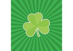Tre Leaf Clover Vector med Sunburst Background