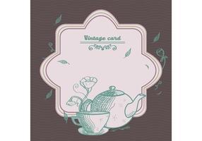 Vector de la tarjeta del té del vintage