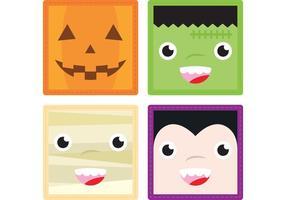 Halloween ansikten vektorer 1