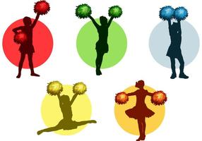 Cheerleader with Pom poms Vector Pack