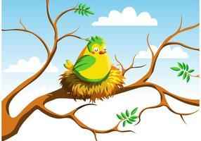 Pájaro, nido, vector