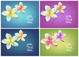 Gratis Vector Polynesische Flower Greeting Card Set