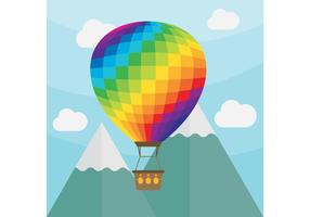 Paysage de vecteur de ballon à air chaud