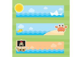 Bannières vectorielles de la mer d'été