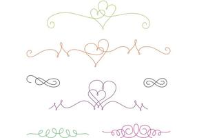 Curly Swirl Vector Hearts