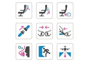 Iconos libres del vector de la seguridad de los aviones