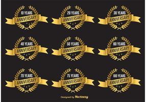 Gold Jahrestag Vektor-Etiketten