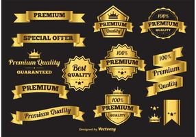 Banderas y etiquetas de oro del vector