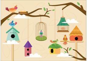 Pacote de pássaros em ninho