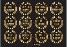 Gouden Laurelkrans Vector Labels
