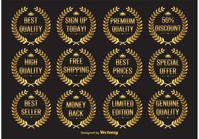 Gold Laurel Wreath Vector Labels