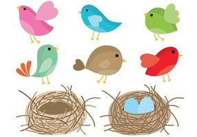 Pájaros en el vector de nido