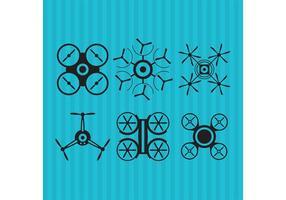 Ícones do vetor do drone preto