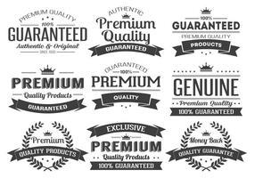 Insígnias de vetor de etiqueta de qualidade premium