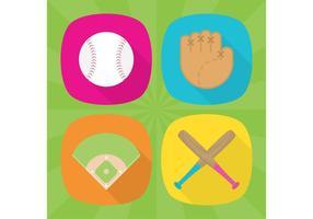 Ícones planos de vetores de beisebol
