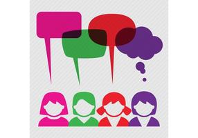 People With Speech Bubble Vector Background