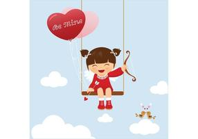 Vector Cute Valentine Kid Swinging