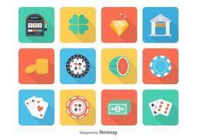 Iconos libres del vector del casino plano